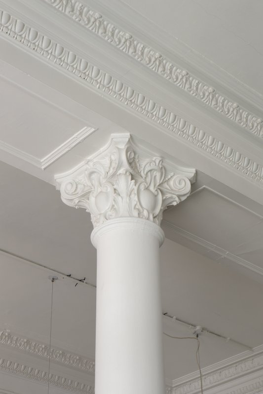 Ground floor. West office. Detail of pillar and cornice.
