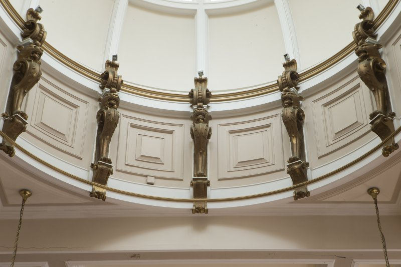 Third floor. Board room. Detail of plasterwork on dome.