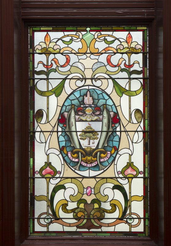 Third floor. Main stair. Detail of stained glass window.