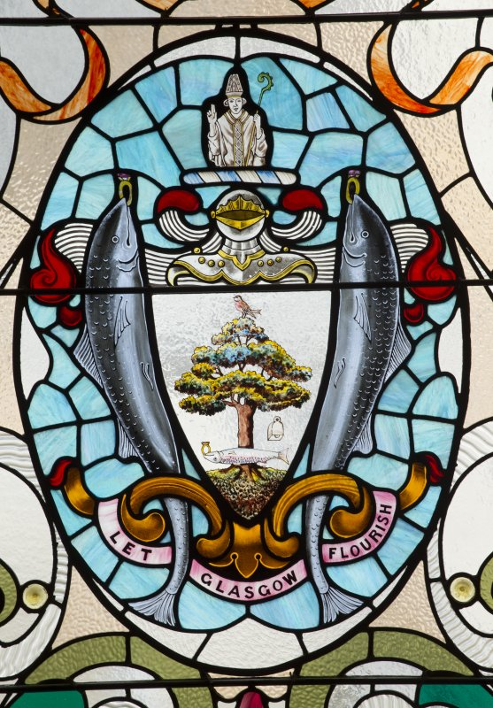 Third floor. Main stair. Detail of stained glass window showing glasgow crest.