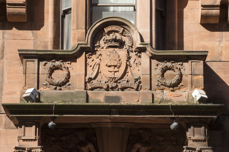 George Street elevation. Detail of Glasgow crest above entrance.