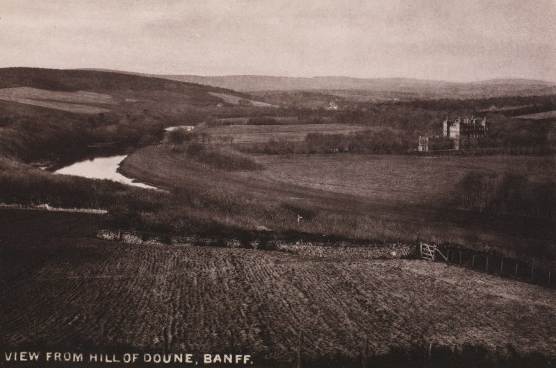 Wide view over country scene, showing river and large mansion, possibly Duff House. Titled ' VIEW FROM HILL OF DOUNE, BANFF.' PHOTOGRAPH ALBUM NO:11 KIRSTY'S BANFF ALBUM