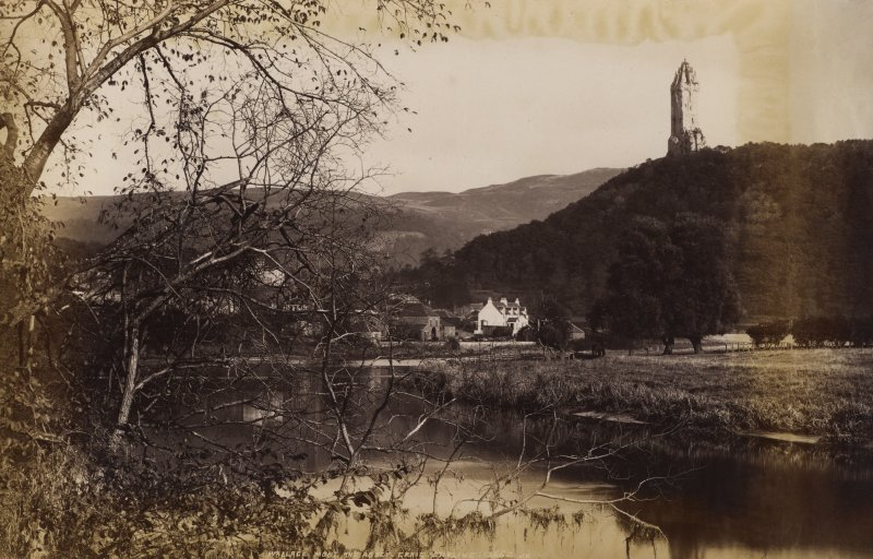 View of Wallace Monument and Abbey Craig, Stirling. Titled 'WALLACE MONT AND ABBEY CRAIG, STIRLING. 13662 J.V.' PHOTOGRAPH ALBUM No.11: KIRSTY'S BANFF ALBUM.