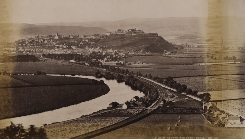 Distant view of Stirling. Titled: 'Stirling from the Abbey Craig. 99 J.V.' PHOTOGRAPH ALBUM NO 11: KIRSTY'S BANFF ALBUM