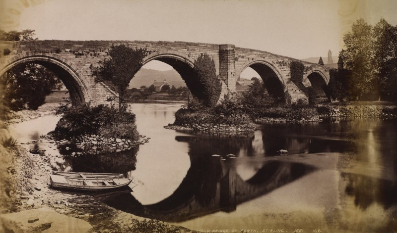 View of arched bridge, Stirling. Titled 'OLD BRIDGE OF FORTH,STIRLING. 1661. J.V.' PHOTOGRAPH ALBUM NO 11: KIRSTY'S BANFF ALBUM