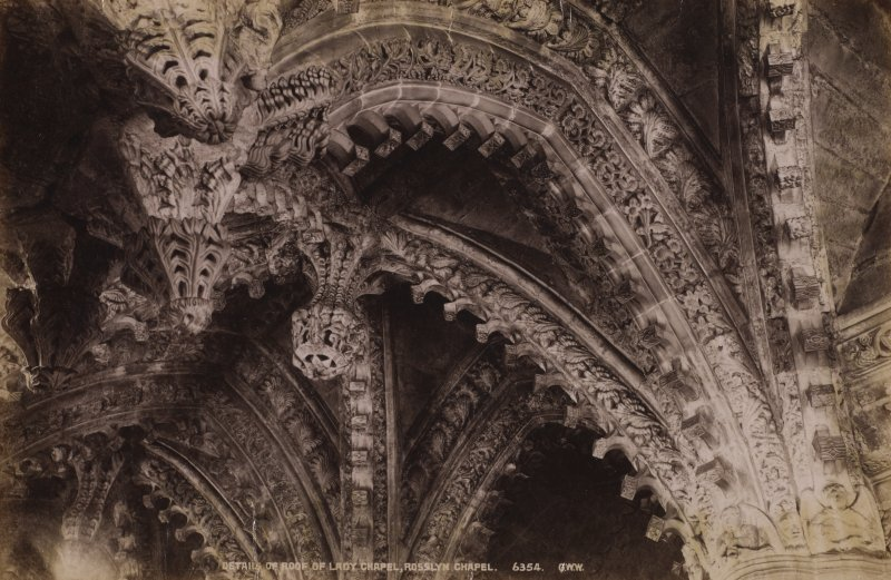 View of roof. Titled: 'Detail of Roof of Lady Chapel. Rosslyn Chapel. 6354 G.W.W'. Page 22. PHOTOGRAPH ALBUM NO 11: KIRSTY'S BANFF ALBUM