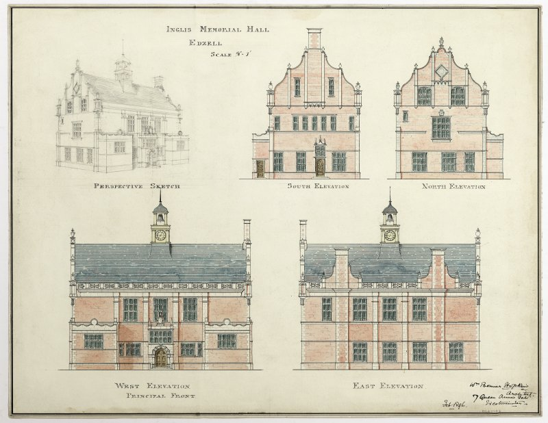 Watercolour and pen elevations of a design for the Inglis Memorial Hall, Edzell, (1896) by William Bonner Hopkins.