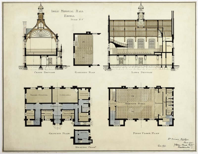 Watercolour and pen sections of a design for the Inglis Memorial Hall, Edzell, (1896) by William Bonner Hopkins.