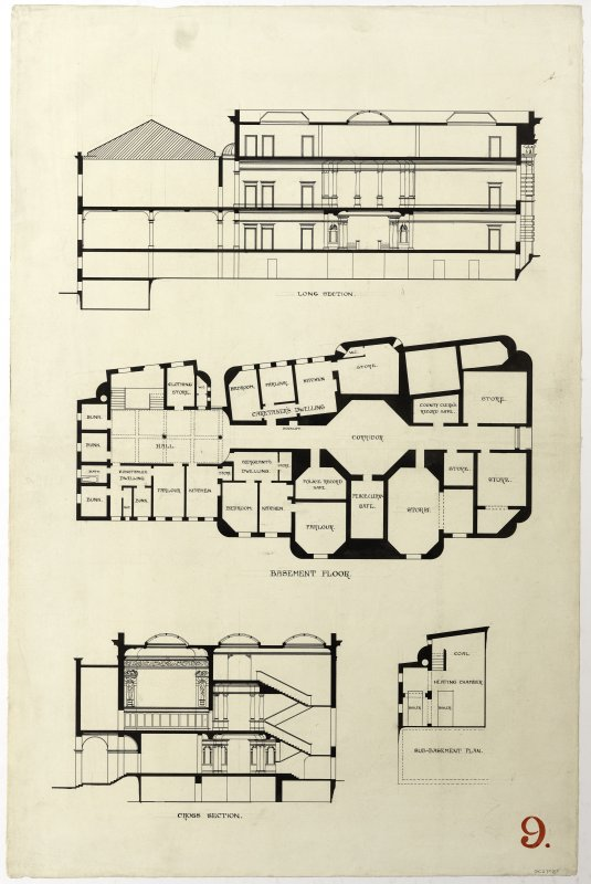 Pen sections and basement floor plan of a design for the Midlothian County Buildings, Edinburgh (1896) by William Bonner Hopkins.