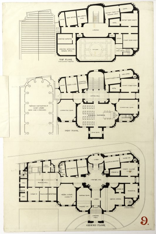 Pen ground floor, first floor and top floor plans of a design for the Midlothian County Buildings, Edinburgh (1899) by William Bonner Hopkins.