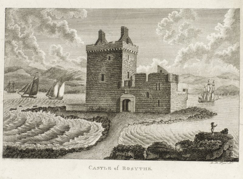 Engraving showing view of Rosyth Castle with sailing ships in the background.