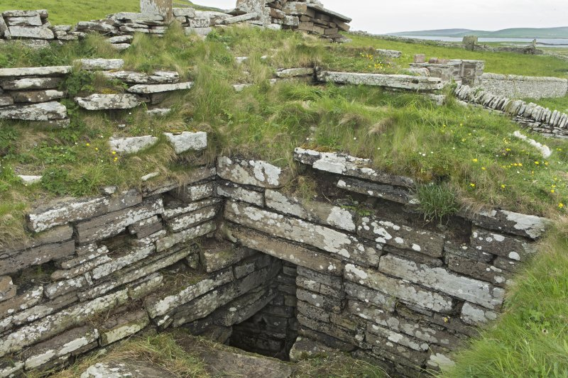 Interior of tower, view from north west showing entrance to possible well. Above there are the footings of an intra-mural room