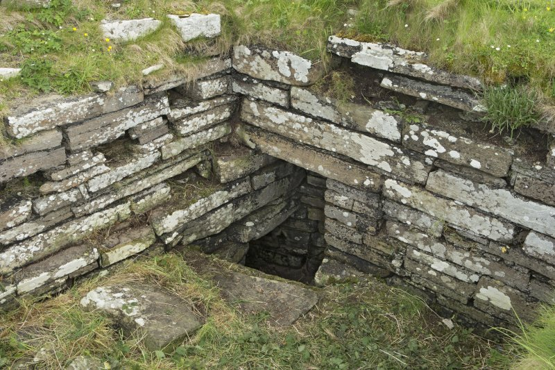 Interior of tower, view from north west showing entrance to possible well