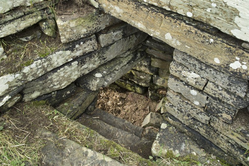 Interior of tower, detail of steps leading to possible well