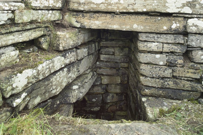 Interior of tower, detail of entrance to underground possible well