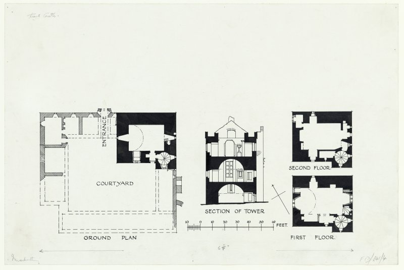 Publication drawing showing plans and section of tower, Rosyth Castle.