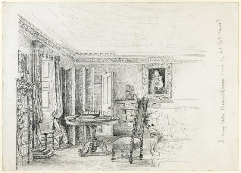 Pencil sketch of drawing room, Bannockburn House.