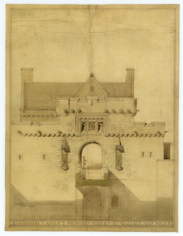 Drawing, after conservation, of elevation of Gateway with proposed statues to Bruce & Wallace.