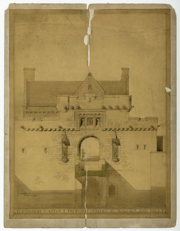 Drawing, before conservation, of elevation of Gateway with proposed statues to Bruce & Wallace.