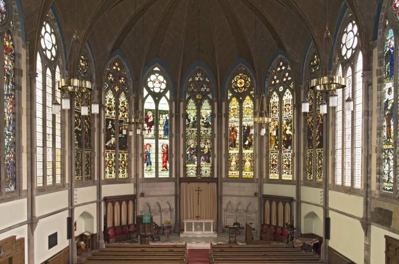 Stained glass windows in 'chancel', view from balcony to north west