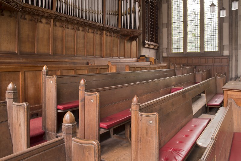 Balcony, view of pews from south
