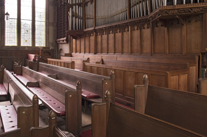 Balcony, view of pews from north east