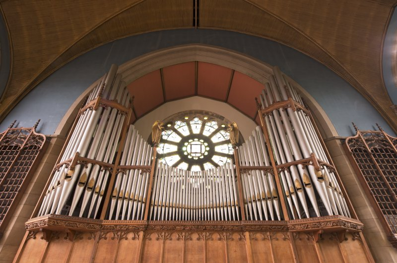 View of organ pipes and rose window