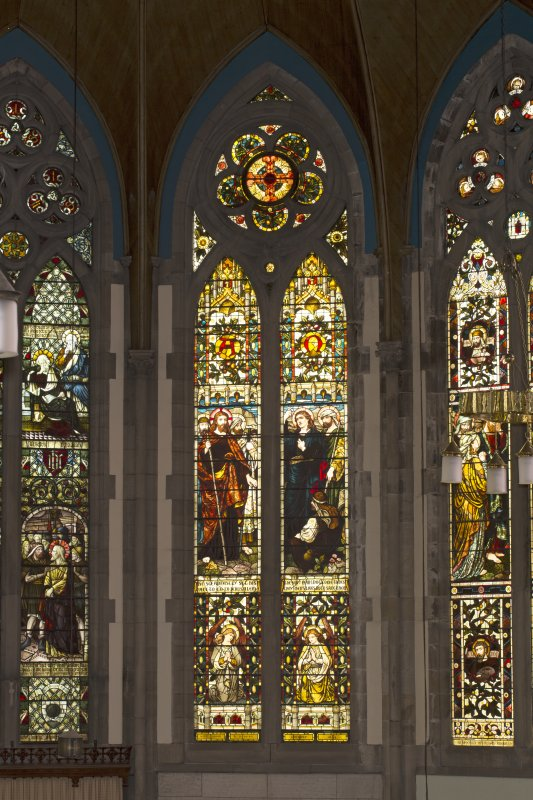 View of stained glass window in chancel