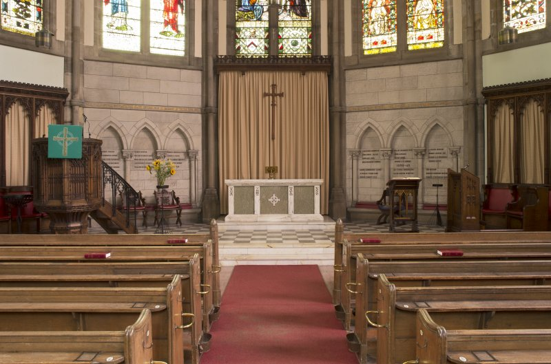 View of chancel showing pulpit, communion table and lecterns