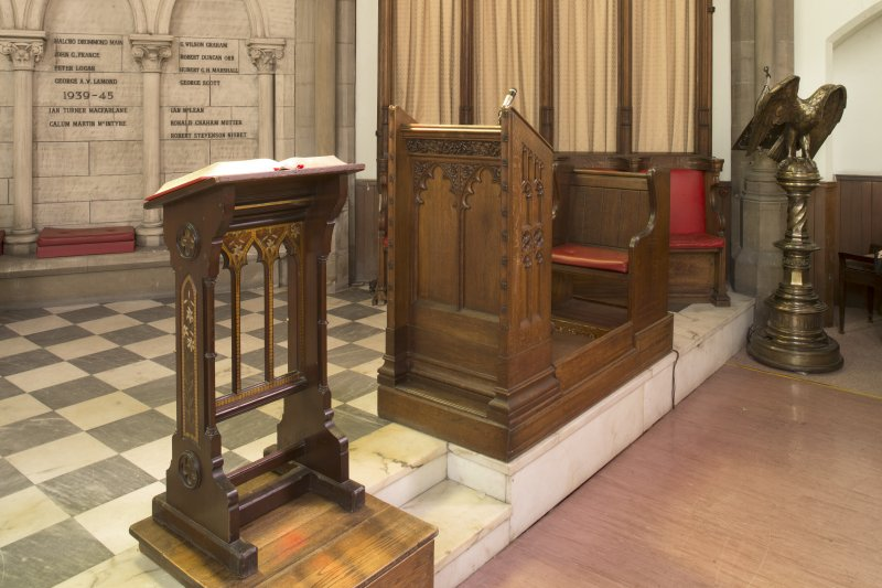 Chancel, view of lecterns and desk