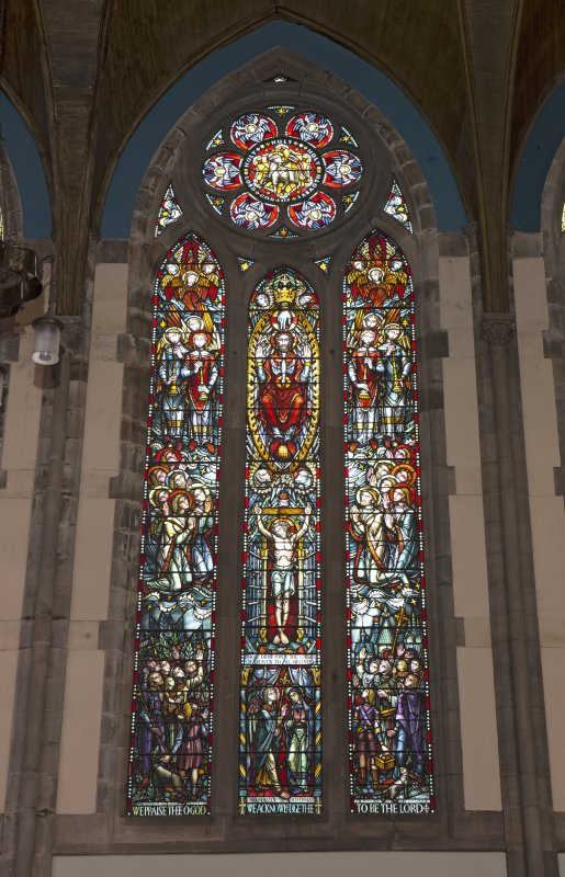 View of stained glass window on north east wall
