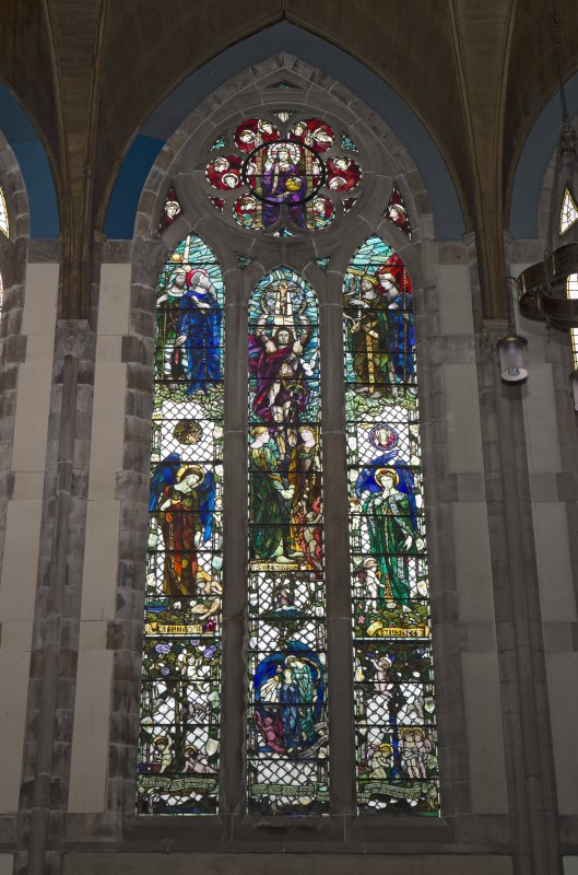 View of stained glass window on south west wall