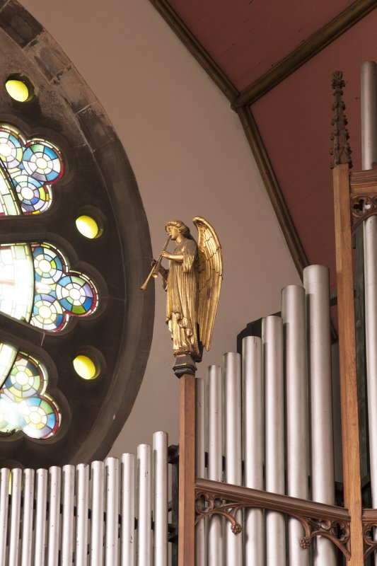 Detail of angel on organ pipes