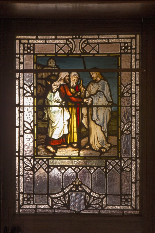 Detail of stained glass panel in door to session room