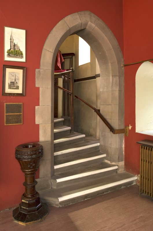 View of staircase to organ gallery