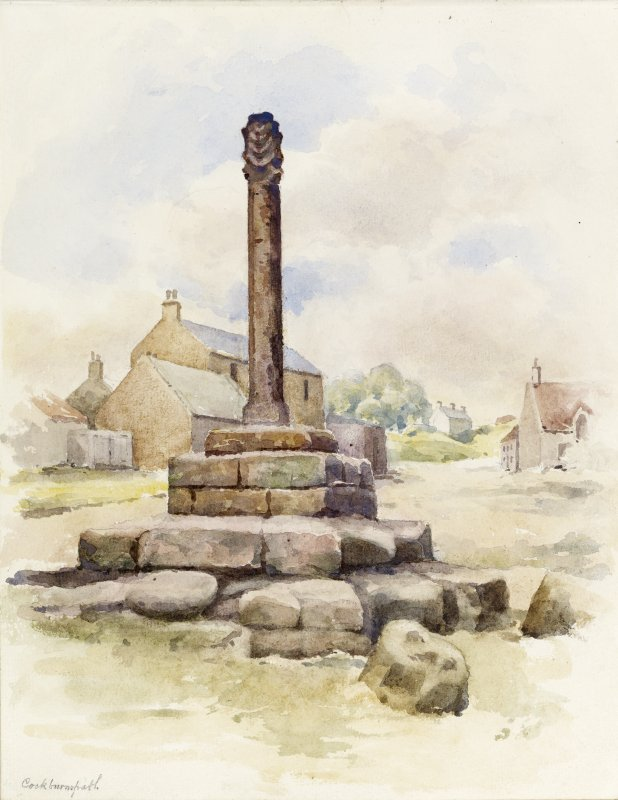 View of market cross, Cockburnspath.