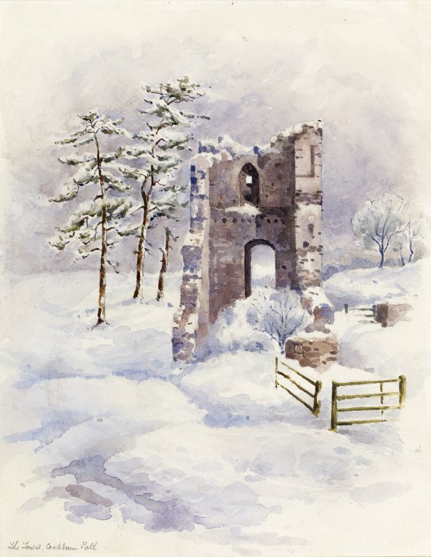 View of Cockburnspath Tower in snow.