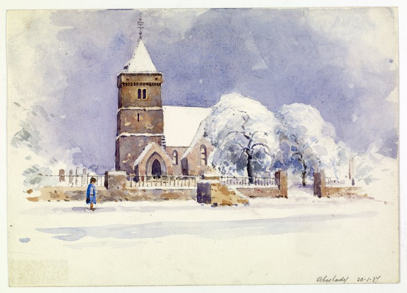 View of Aberlady Church in snow.