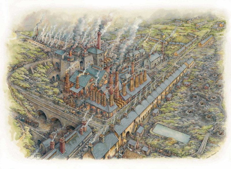 A reconstruction drawing of the Wilsontown Ironworks by illustrator Michael Blackmore.
