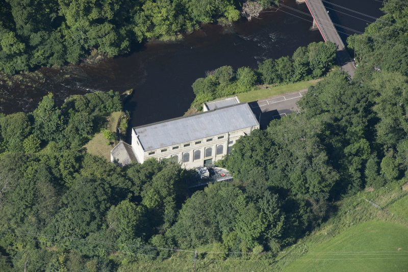 Oblique aerial view of Stonebyres hydroelectric power station.