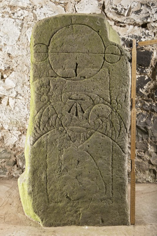 Pictish symbol stone, view of front face (including scale)