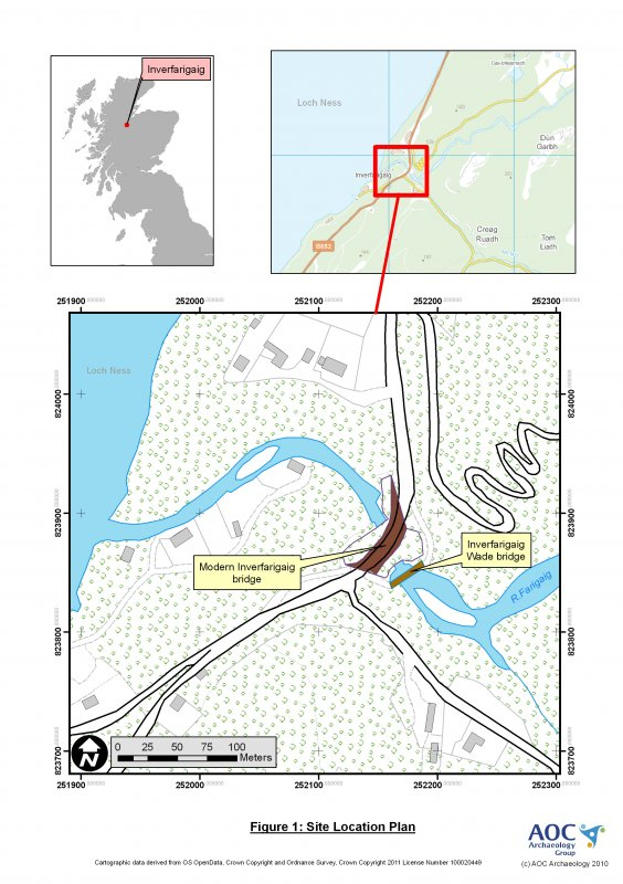 Location map associated with archaeological survey of Inverfarigaig bridge, Loch Ness