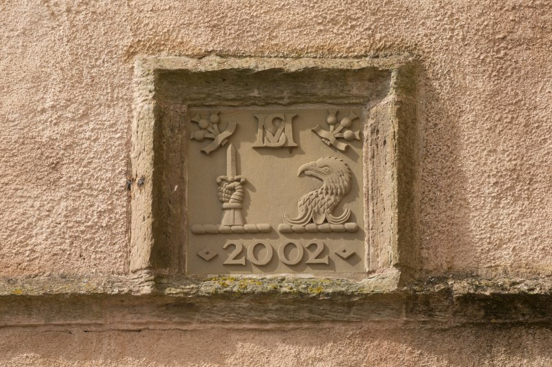 Detail of restoration date plaque.