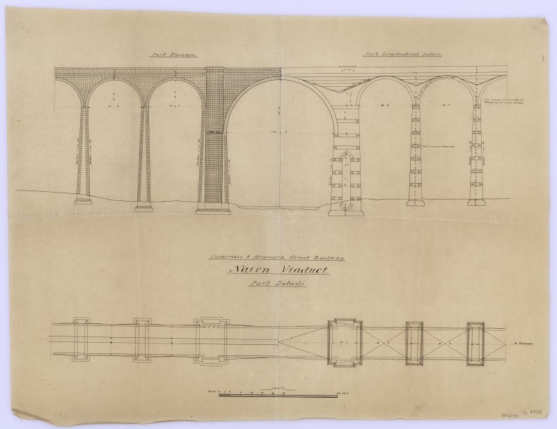 Section, elevation, and details of Nairn Viaduct.