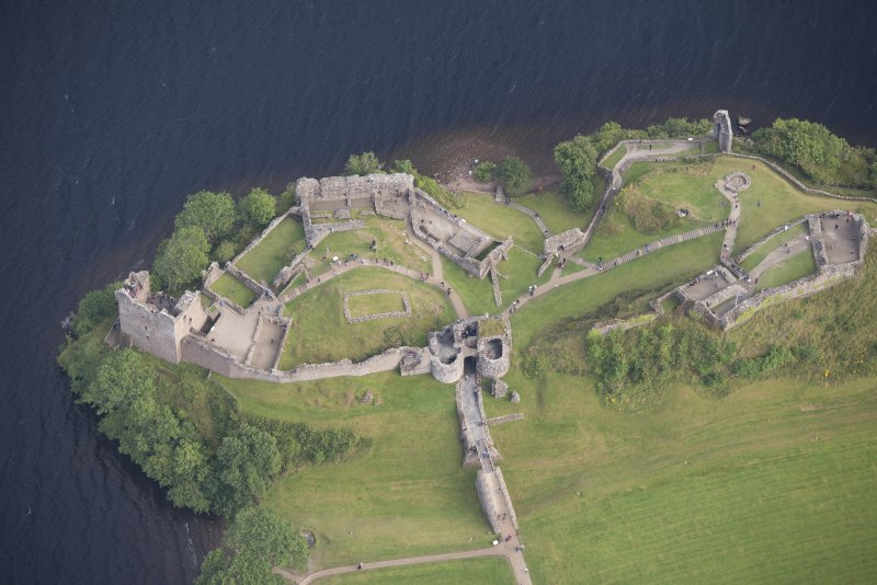 Urquhart Castle, oblique aerial view.