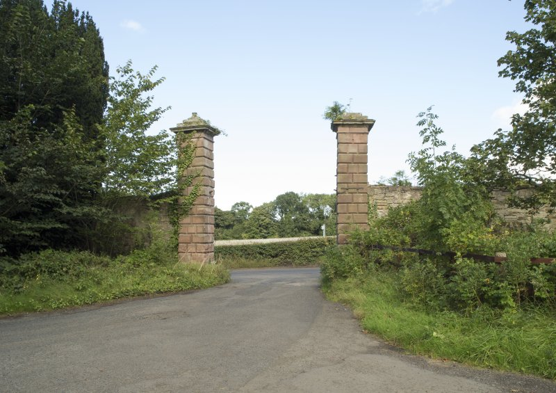 Entrance gatepiers from south west.