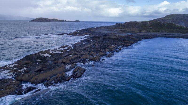 Oblique aerial view of south coastal quarry area, extreme south west tip of Easdale
