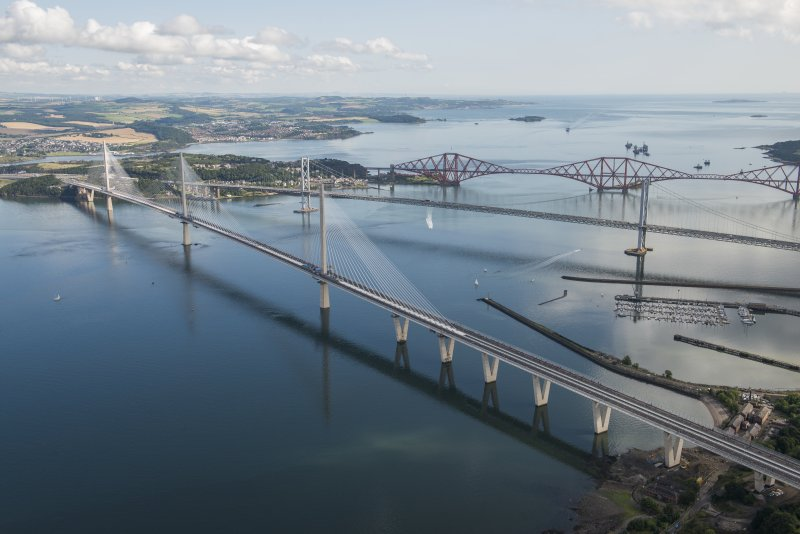 Oblique aerial view of the Queensferry Crossing on the day of the public pedestrian crossing, taken in 2016.