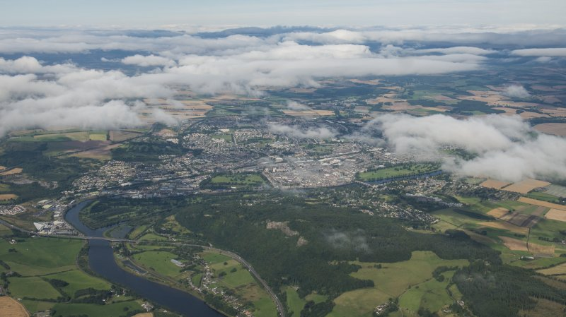 General oblique aerial view of Strathearn centred on Perth.