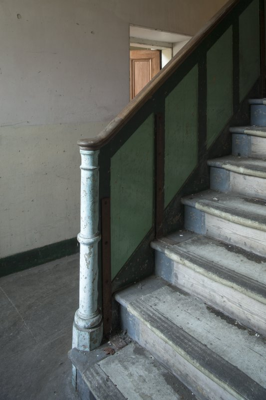 Ground floor. Hall & stair. Detail of newel.
